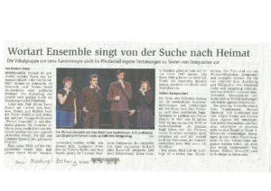 """Norbert Duwe über das Konzert des """"Wortart Ensemble"""" im """"Pferdestall in Bremerhaven am 06.12.2016 in der Nordsee-Zeitung vom 08.12.2016"""